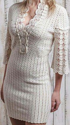 3b552c4fa Vestidos A Crochet Mujer, Vestidos De Dama, Vestidos Bonitos, Ropa De Mujer,