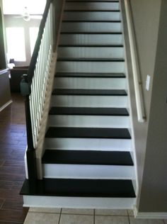 Red Oak Stair Treads Stained Kona. Lewan Plywood Risers Paint  White.