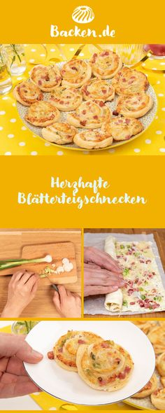 Herzhafte Blätterteigschnecken Savory puff pastry, filled with cheese and ham, are perfect for any party and are also great as a tasty snack in between. Snacks Für Party, Easy Snacks, Yummy Snacks, Easy To Digest Foods, Low Fat Cheese, Low Fat Yogurt, Cereal Recipes, High Protein Recipes, Evening Meals