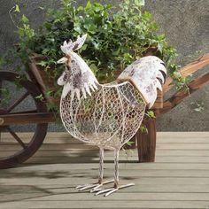 13 spectacular diy chicken wire craft ideas do it yourself ideas sunjoy antique white rustic chicken wire rooster garden sculpture iron outdoor dcor solutioingenieria Gallery