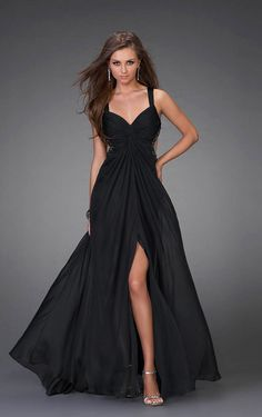 Floor-length A-line Shoulder Straps Black Chiffon Formal/Prom Dress