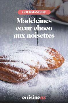 Une recette facile de madeleines avec de la pâte à tartiner. #recette#cuisine #patisserie #madeleine #chocolat #noisette Hamburger, Sweet Treats, Bread, Pains, Desserts, Salads, Tailgate Desserts, Sweets, Deserts
