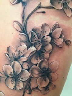 Image result for cherry blossom tattoo black and grey