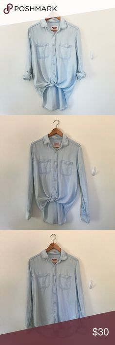 Faded Jean Button Down Not actual jean material, just a vintage jean look. Super lightweight soft material. Still in perfect condition, only worn once. Mossimo Supply Co. Tops Button Down Shirts
