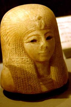 Canopic jar lid of Queen Tuyi wife of Sety I (Menmaatra) and mother of Ramesses II. Made of Calcite from the Valley of the Queens.