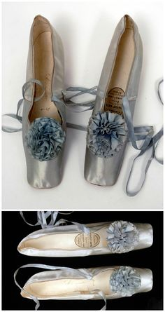 Evening shoes, pale blue satin with matching ribbon pompon. Belonged to Empress Eugenie. 1855-70. Viault-Este, Paris (distributor: Thierry & Sons, London). The Bowes Museum.