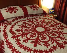 Red Hawaiian Quilt, Queen Size