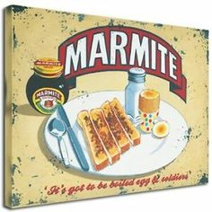 Stunning Marmite Art Canvas - Huge x South African Decor, Vintage Metal Signs, Illustration Art, Illustrations, Marmite, Lucky Star, Photo Projects, Wooden Blocks, Afrikaans