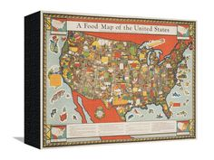 A Food Map of the United States Stretched Canvas Print at Art.com