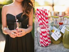 Black bridesmaid dress, reception details, striped straws, personalized glasses