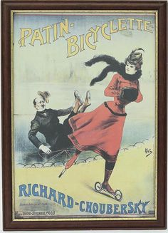 """Artist:  Pal (Jean de Paléologue) (American, 1855–1942).  Title: Patin-Bicyclette, 1855 , 1855.   Reprodution of French advertising poster , """" Patin Bicyclette - Richard - Choubersky """" signed lithographically by Paul Dupon, printed in France.  Wooden frame with golden profile. Dimensions : 38x26 cm print , 42x30,5 cm frame."""