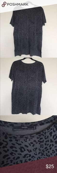 Zara Animal Print Top Zara Animal Print Top. The front is shorter than the back and the hems are raw edges. Super light and cool fabric! Tag says cupra and elastane. Size S but would fit M too. Like new! Zara Tops Tees - Short Sleeve