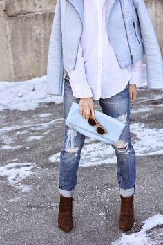 We love this light blue look for a cooler spring day!