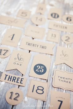 The most important part of an advent calendar is the count down. Print some numbers off yourself using this template from Simple as That. You can do it on brown paper or white and attached it to anything you want to use.