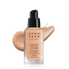 Undetectable full coverage,Avon True Color Flawless Liquid Foundation...Perfection without detection.INVISIBLEND TECHNOLOGY.Avon's exclusive patent-pending technology with skin-matching pigments in various sizes and shapes, softens light from every angle for perfectly invisible coverage.Full coverage that looks and feels so natural! No need to cake on layer after layer of liquid foundation, Avon True Color Flawless Liquid Foundation creates complete coverage i