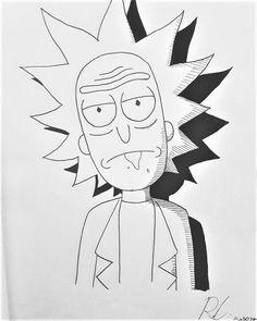ArtStation Rick Sanchez Ron C. Trippy Drawings, Graffiti Drawing, Cool Art Drawings, Pencil Art Drawings, Art Drawings Sketches, Disney Drawings, Cartoon Drawings, Cartoon Art, Easy Drawings