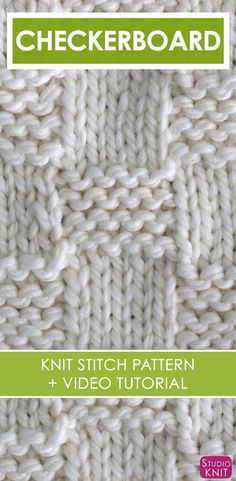 How to Knit the Garter Checkerboard Stitch with Free Written Pattern and Video Tutorial by Studio Knit. Knitting Basics, Knitting Stiches, Knitting Charts, Knitting For Beginners, Loom Knitting, Free Knitting, Knitting Patterns, Knit Stitches, Knitting Tutorials