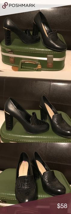 Franco Sarto black leather heels These beautiful women shoes are looking for a new home purchase them at Nordstrom wear once but a little big . Size 8 1/2m , theses are so comfortable sad to see them go, 💯 leather upper with rubber soles Franco Sarto Shoes Heels