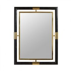 Maitland-Smith Satina Finished Brass And Black Penshell Inlaid Mirror