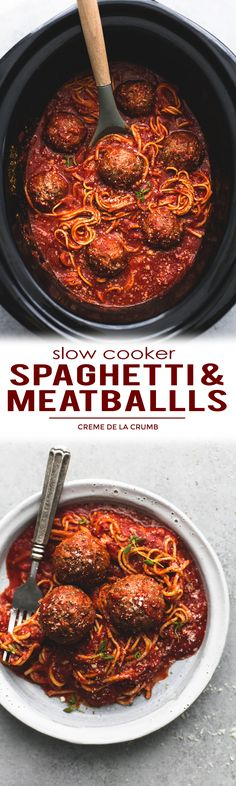 Easy Slow Cooker Spaghetti And Meatballs - everything is made in the crockpot, even the noodles!