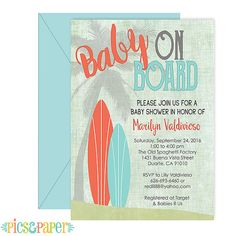 surf baby shower invitation vintage style baby on board brown and teal beach theme baby shower for a boy or girl surfboards baby shower