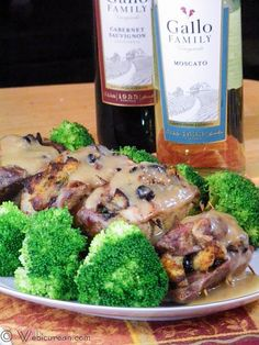 i used chablis...really good...Baked Stuffed Pork Chops with Moscato Gravy