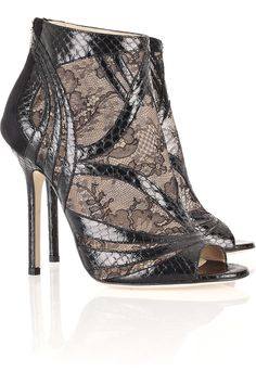Jimmy Choo  Nexus snakeskin and lace sandals  $453.25