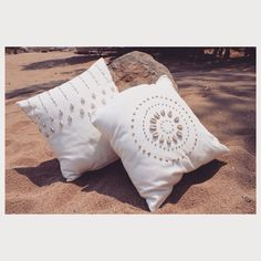 Katundu's Yofu cushion covers made from ostrich and cowry shells. Stunning beach atmospheric design.  Buy now at http://www.katundu.net/