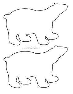 Polar Bear Black Line Template. Idea--sponge print a winter mural using lots of arctic animals. Artic Animals, Felt Animals, Winter Art, Winter Theme, Bear Template, Animal Templates, Felt Templates, Winter Crafts For Kids, Winter Preschool Crafts
