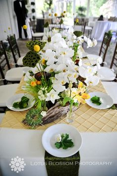 floral down the center of the table  WOW!!!  Love thprofusion of orchids and the driftwood and succulents