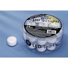 Tea Light WITH FLICKER White LED (Pack of 24)