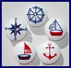 Hand Painted Knob Dresser Drawer Nautical Sailboat Anchor Helm Compass. $6.50, via Etsy.