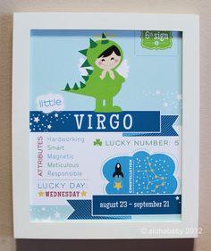 Virgo Baby Zodiac Print by alohababydesign on Etsy