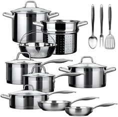 Cookware & Parts Cooking Tools 12 Pieces Of Stainless Steel Cookware Set Soup Pot Milk Pot Fry Pan Combination Set Induction Apply Evident Effect Cookware Sets
