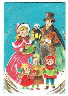 Vintage Old Fashion Family Carolers Christmas Greeting Card
