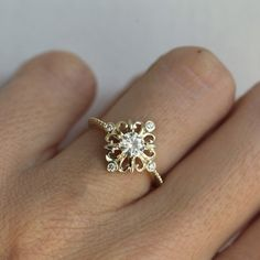 Beautiful hand-crafted vintage inspired Moissanite and Diamond ring.        Product details    Main stone    Gemstone type: Moissan