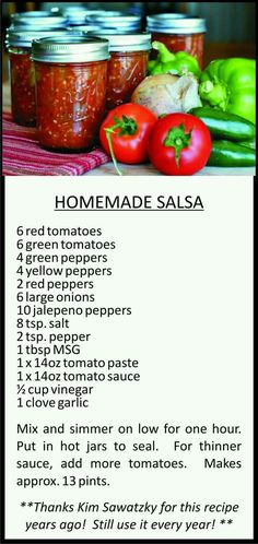 Homemade Salsa: large batch so you can can and save for later. Salsa Canning Recipes, Salsa Recipe, Canning Salsa, Canning Homemade Salsa, Canning Tips, Mojito Recipe, Sauce Recipes, Cooking Recipes, Healthy Recipes