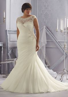 80a847f9c7d Crystal Beaded Embroidery on an Organza Plus Size Wedding Dress. Colors  available  White