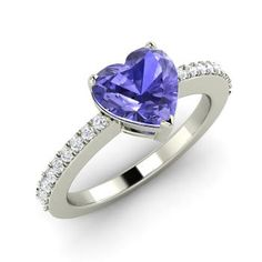 Heart-Cut Tanzanite Engagement Ring in 14k White Gold with SI Diamond