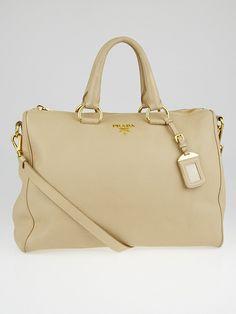 Prada Talco Vitello Daino Leather Top Handle Bauletto Tote Bag