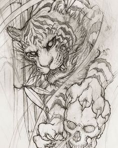 Tiger and Skull Sketch Artist: Created toronto Irezumi Tattoos, Bild Tattoos, Body Art Tattoos, Sleeve Tattoos, Tiger Sketch, Skull Sketch, Samurai Drawing, Samurai Tattoo, Tiger Tattoo Design