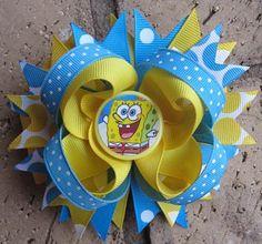 Custom Boutique Hair bow made to match Spongebob Squarepants