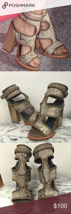 """Amazing pair of Monika Chiang """"Faiza"""" Heels These are absolutely stunning and retail for more than $500. I am selling extremely low as I am trying to clear out my closet. Feel free to still make offers or bundle. No trading. Size 7. Fit true to size. Color is grey and pattern is reptile! Never been worn, one of the shoes is missing a clasp for the ankle strap but def fixable Monika Chiang Shoes"""