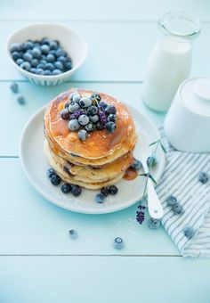 Blueberry and salted caramel pancakes