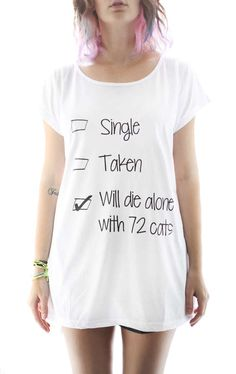 Pessimistic Spinster Apparel. Change cat to pugs and that's where my life is heading!