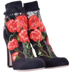 Pre-owned pumps with floral embroidery ($565) ❤ liked on Polyvore featuring shoes, pumps, black, black pumps, multi-color pumps, multi colored shoes, black leather shoes and black high heel shoes