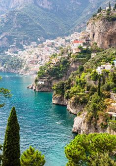 View across to Positano on the Amalfi Coast, Italy