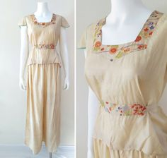 1920s Pongee Silk Pajamas Size Large by TimeLordsVintage on Etsy