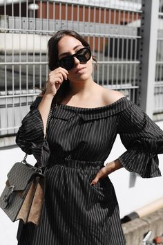 PINSTRIPED | Fiona from thedashingrider.com wears black Off Shoulder Dress from Dezzal, Céline Caty Sunglasses and the Gucci Dionysus Supreme Bag | Petite Blogger | Style Blogger | Outfit