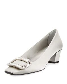 ROGER VIVIER Belle Vivier Strass Satin 45Mm Pump, Light Gray. #rogervivier #shoes #pumps